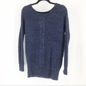 AE navy silver shimmer sparkle crewneck sweater sp